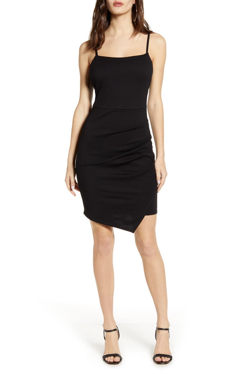 LOVE, NICKIE LEW Ruched Square Neck Minidress, Main, color, 001