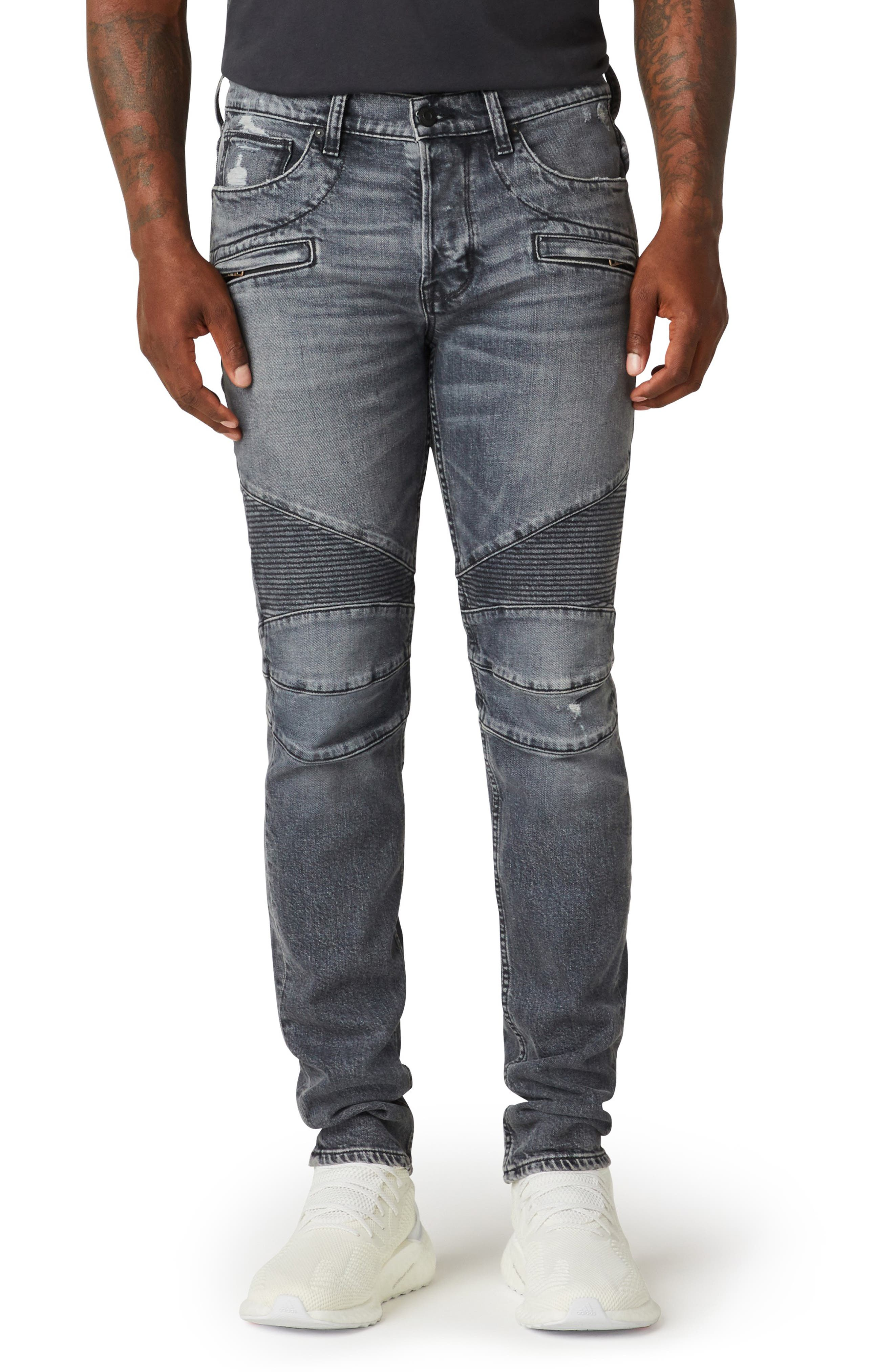 Nicks, scuffs and bleachy sanding rev up the moto attitude of panel-cut biker jeans sporting tough ribbing right above the knees. Style Name: Hudson Jeans The Blinder V.2 Skinny Fit Distressed Biker Jeans (Kit). Style Number: 6099084. Available in stores.