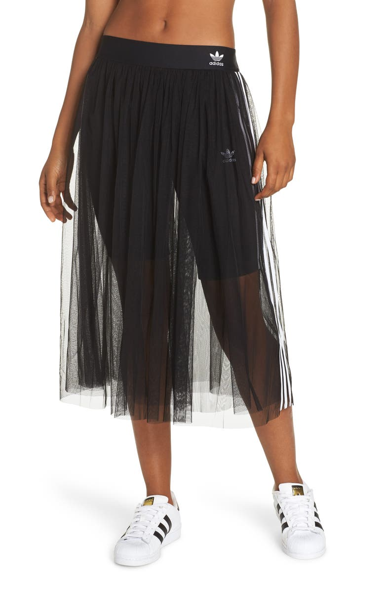 ADIDAS 3-Stripes Tulle Skirt, Main, color, 001