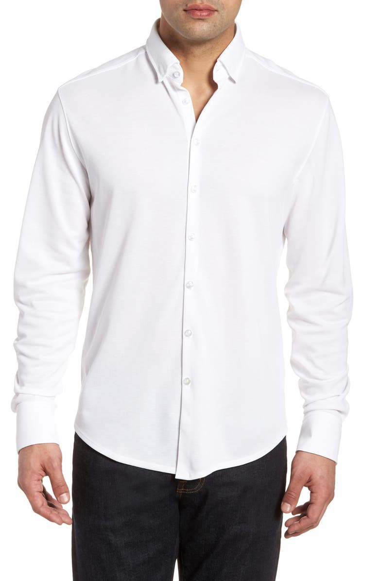 STONE ROSE Regular Fit Knit Shirt, Main, color, WHITE