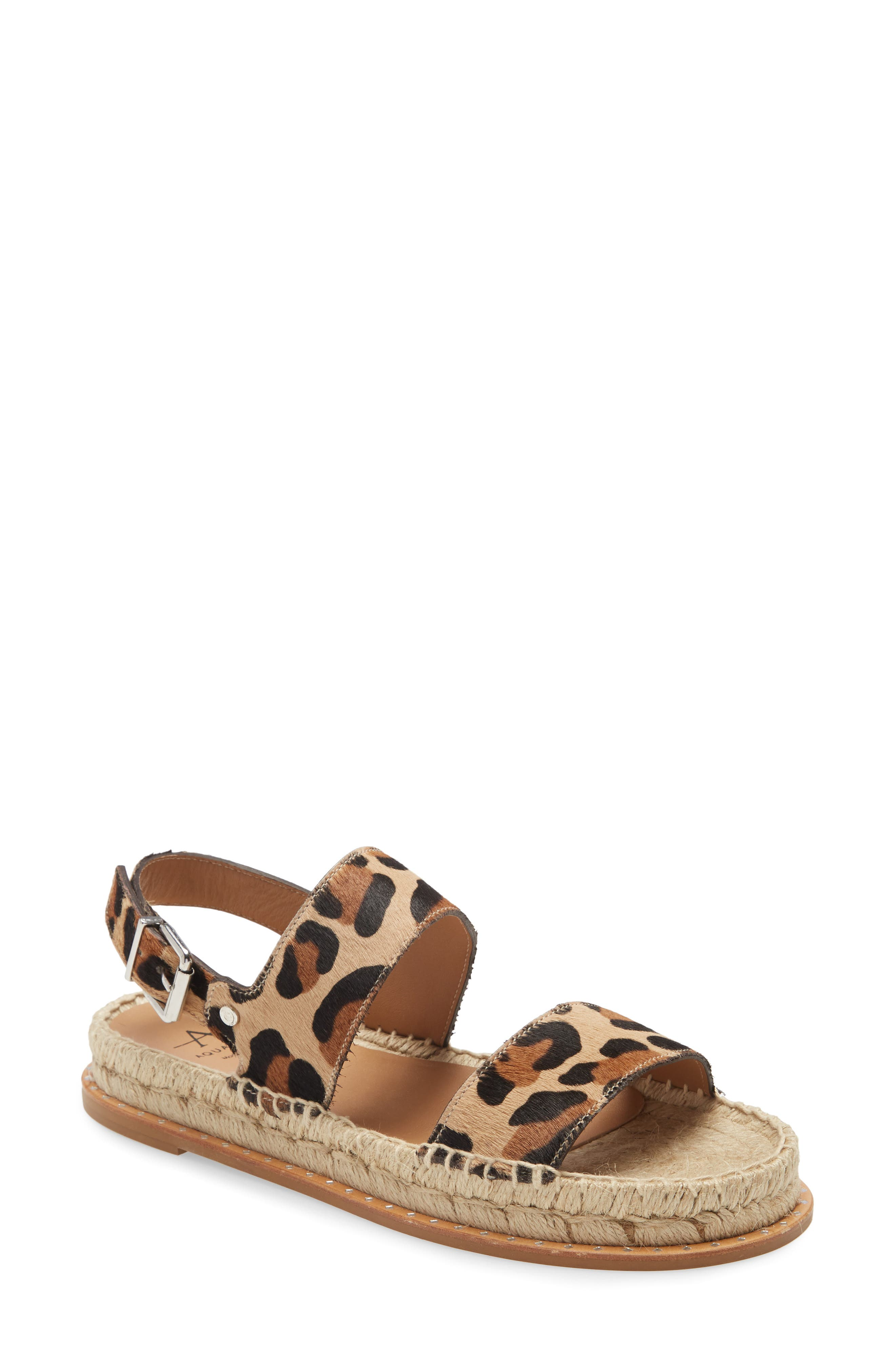 Image of Aquatalia Kira Genuine Calf Hair Leopard Print Espadrille Platform Sandal