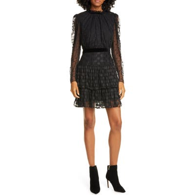 Saloni Ava Jacquard Dot Long Sleeve Minidress, Black