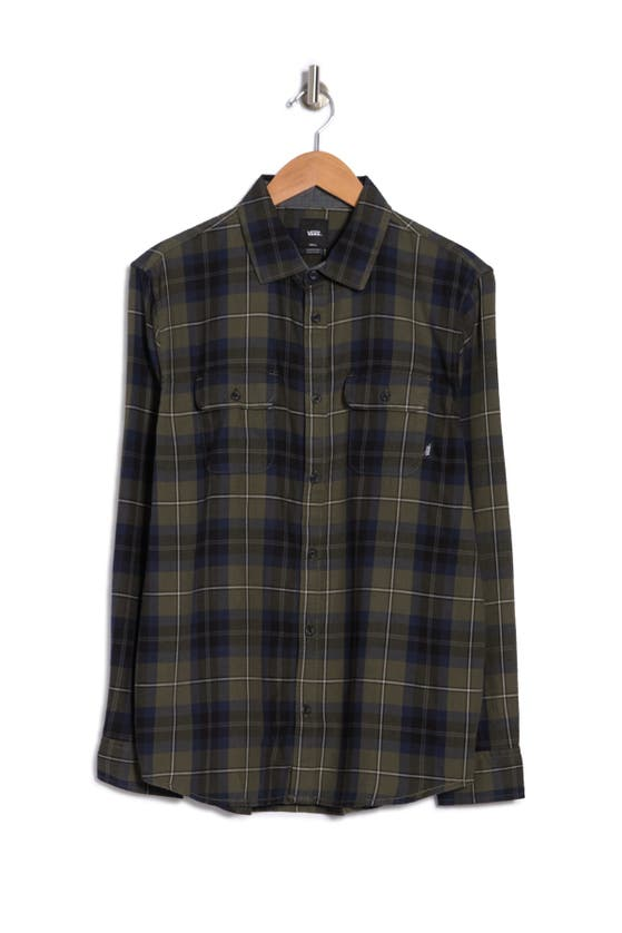 Vans Sycamore Plaid Flannel Button-up Shirt In Grape Leaf/dress Blues