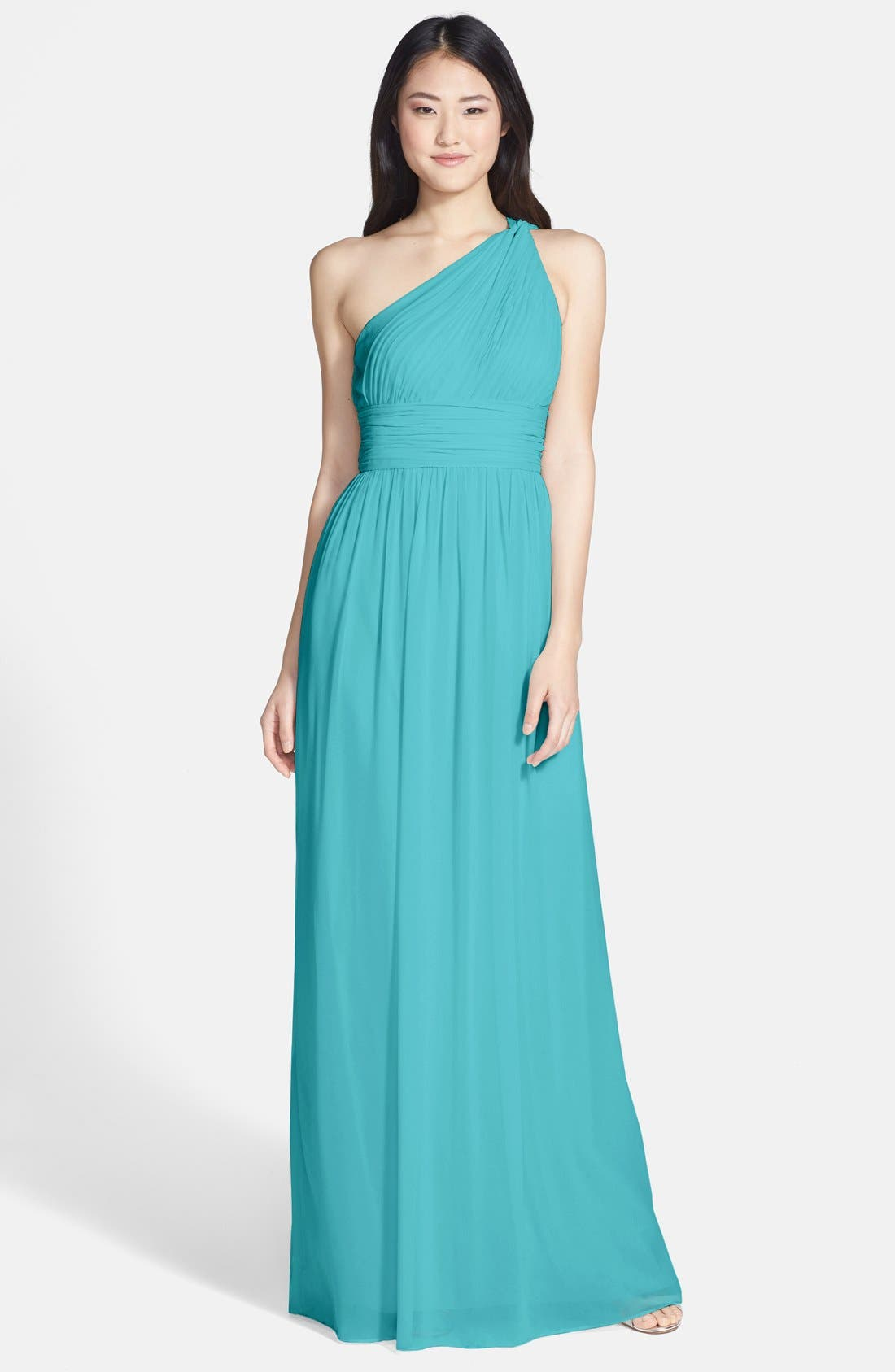 ,                             'Rachel' Ruched One-Shoulder Chiffon Gown,                             Main thumbnail 71, color,                             440