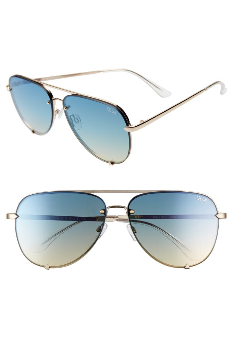 QUAY AUSTRALIA x Desi Perkins High Key 65mm Rimless Aviator Sunglasses, Main, color, GOLD/ BLUE TURQUOISE