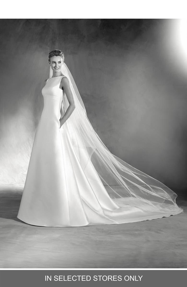 ATELIER PRONOVIAS Elma Kelly Mikado A-Line Gown, Main, color, OFF WHITE