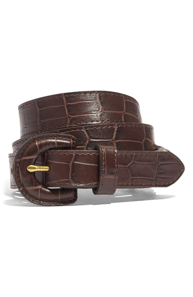 MADEWELL Croc Embossed Leather Wrapped Buckle Belt, Main, color, DARK COFFEE