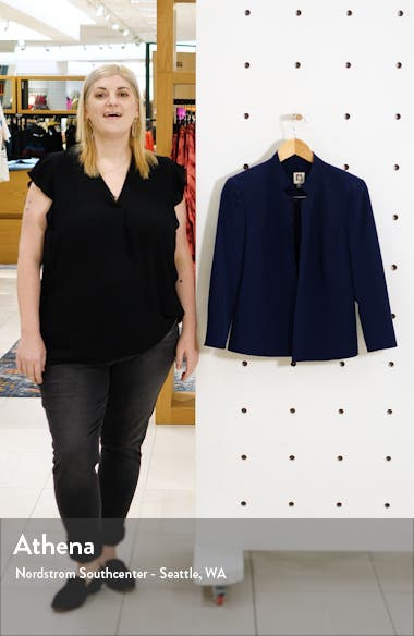 Stand Collar Crepe Jacket, sales video thumbnail