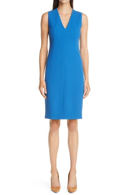 Akris WOOL CREPE MIDI SHEATH DRESS