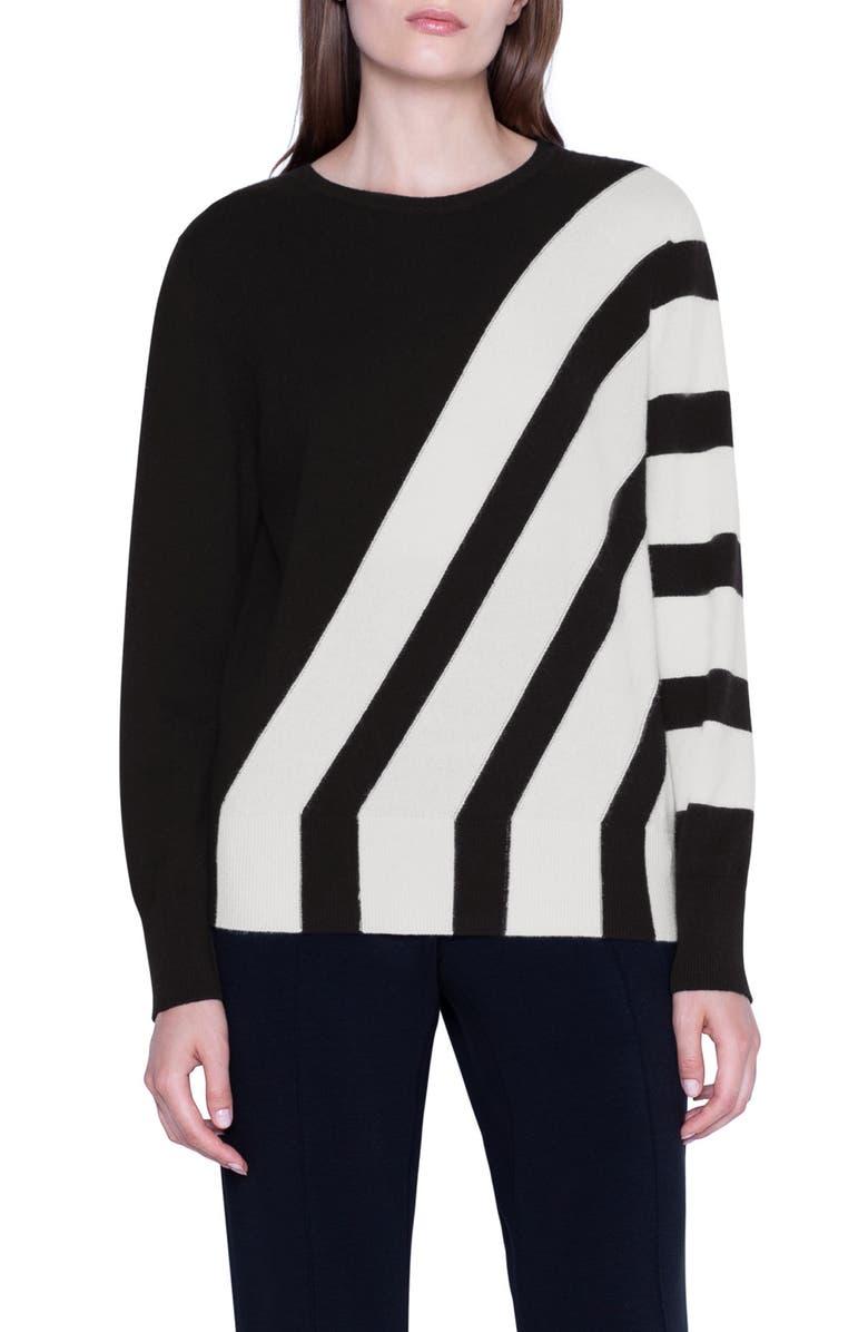 AKRIS Intarsia Stripe Cashmere Sweater, Main, color, BLACK JASMINE