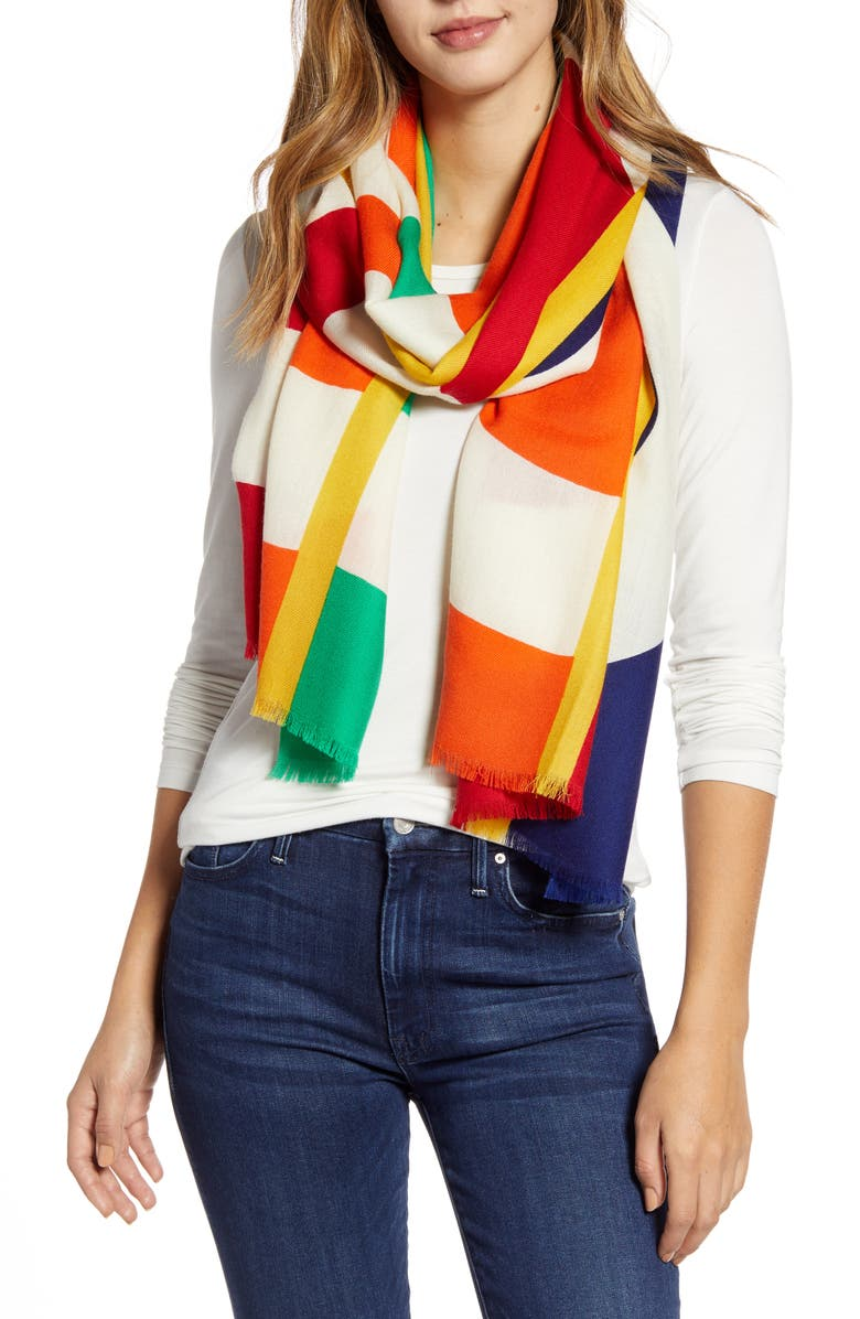 POLO RALPH LAUREN POLO Rainbow Wool Scarf, Main, color, NAVY MULTI
