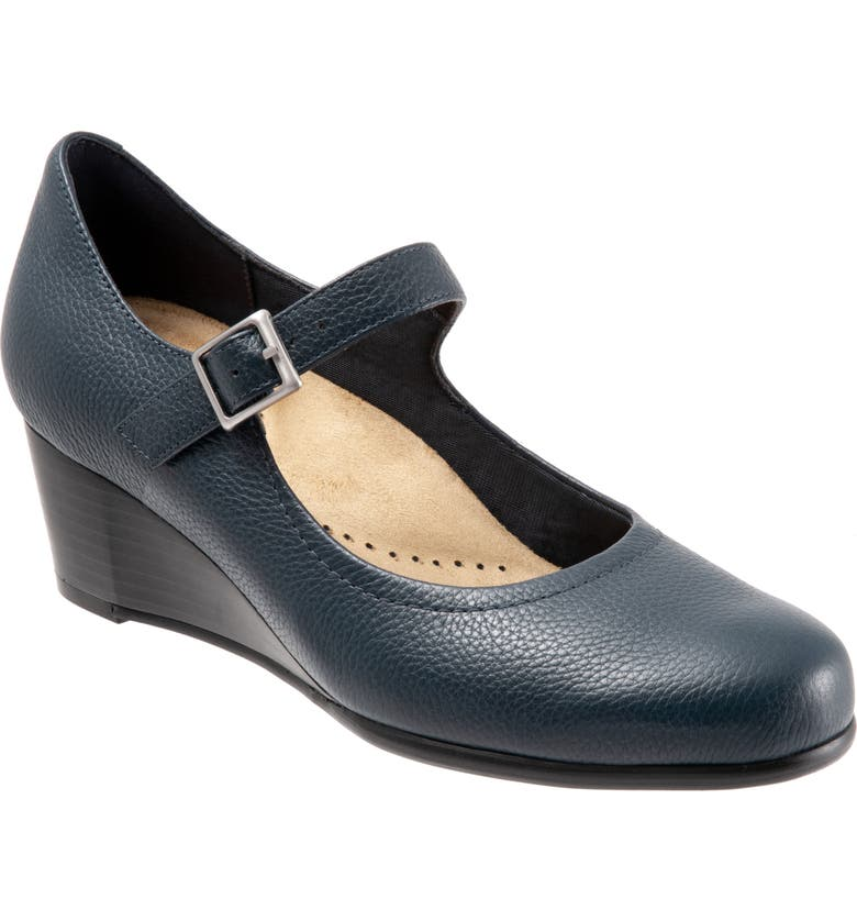 TROTTERS Willow Mary Jane Wedge Pump, Main, color, NAVY LEATHER