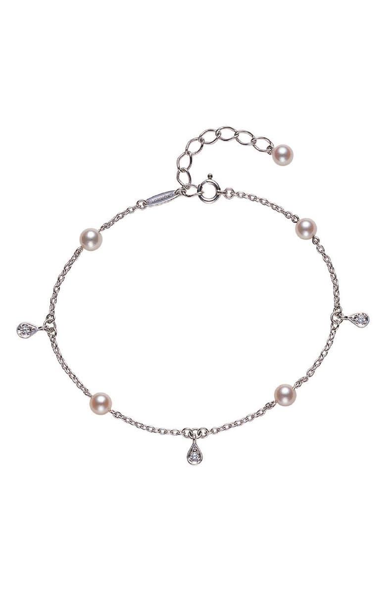 MIKIMOTO Pearl & Diamond Bracelet, Main, color, WHITE GOLD/ PEARL
