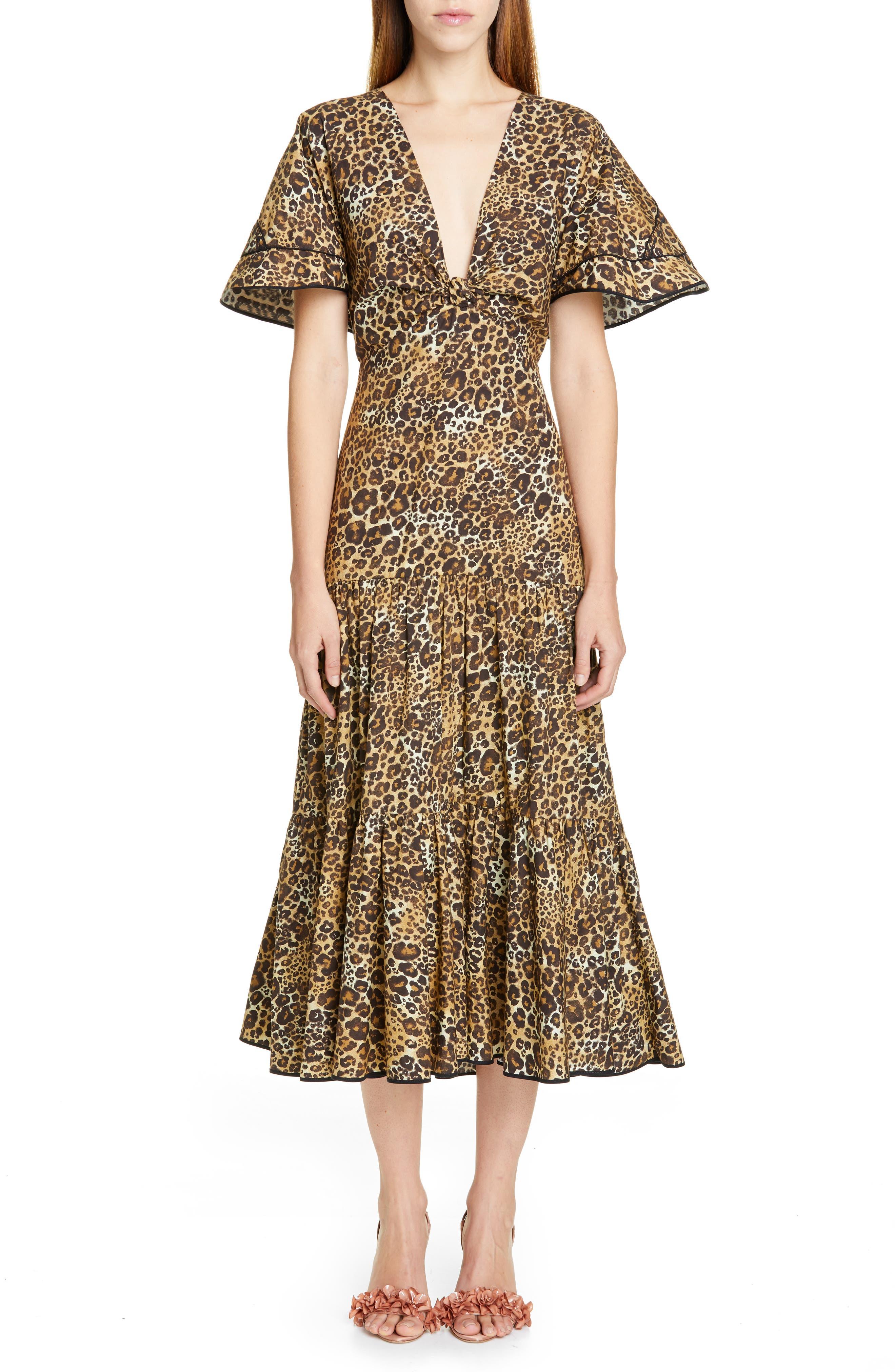Johanna Ortiz Jaguar Print Cutout Midi Dress, Brown