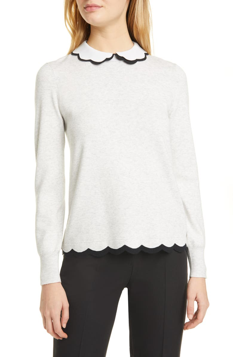 TED BAKER LONDON Lheo Scallop Detail Layered Sweater, Main, color, GREY