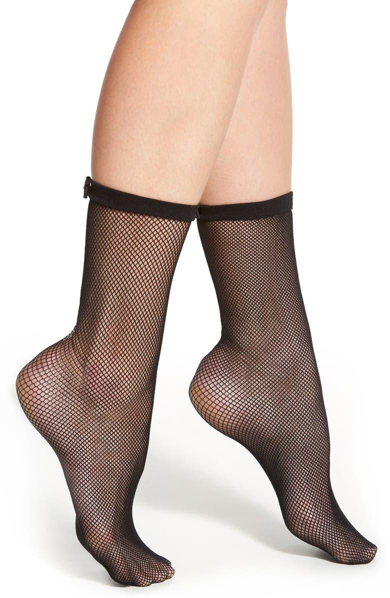 KATE SPADE NEW YORK fishnet trouser socks, Main, color, BLACK
