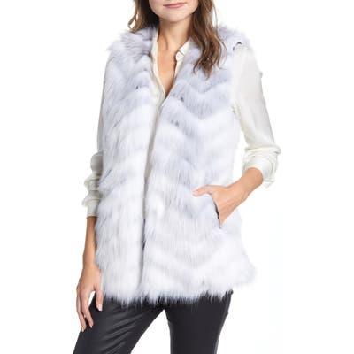 Via Spiga Chevron Faux Fur Vest, White