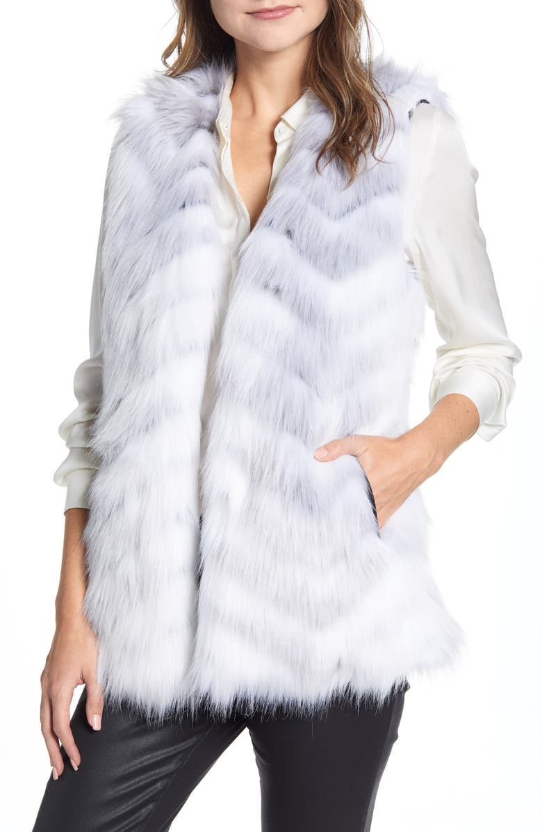 VIA SPIGA Chevron Faux Fur Vest, Main, color, WHITE ZEBRA