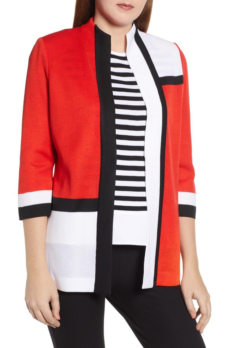 MING WANG Colorblock Knit Jacket, Main, color, POPPY/ BLACK/ WHITE
