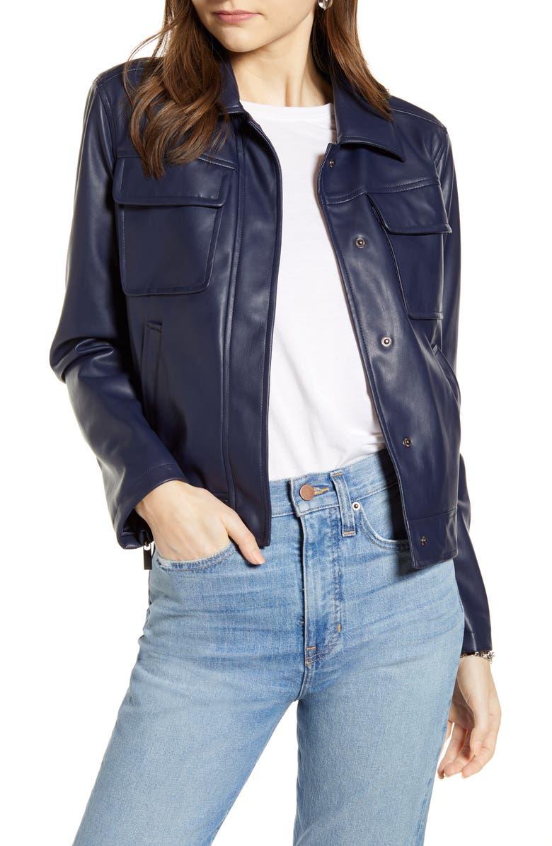 SOMETHING NAVY Boxy Faux Leather Jacket, Main, color, NAVY NIGHT