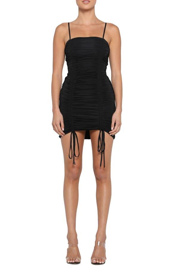 Zion Ruched Minidress In Black