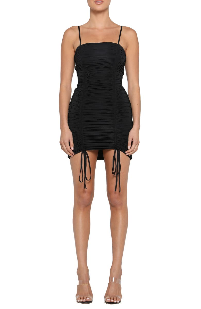 TIGER MIST Zion Ruched Minidress, Main, color, BLACK
