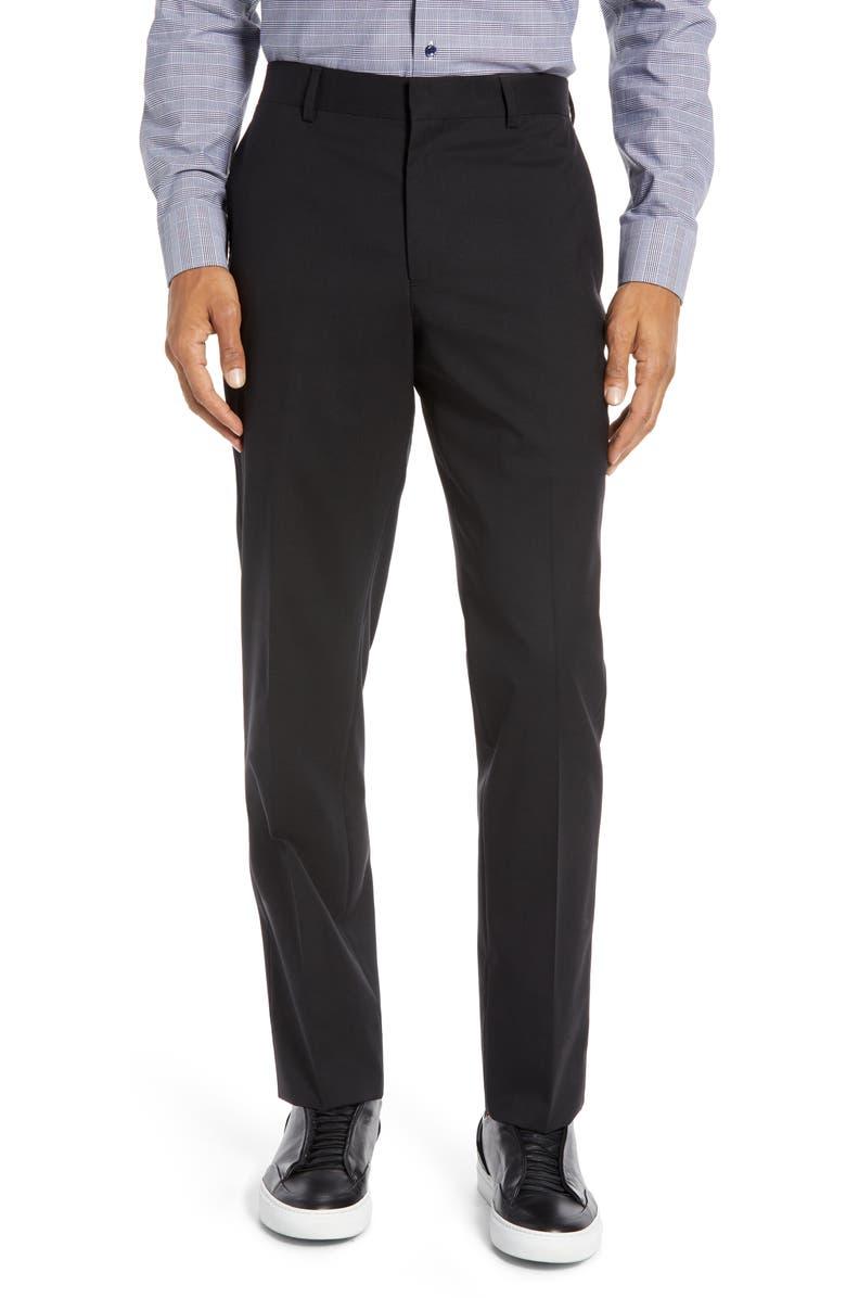 NORDSTROM MEN'S SHOP Tech-Smart Slim Fit Stretch Wool Dress Pants, Main, color, BLACK