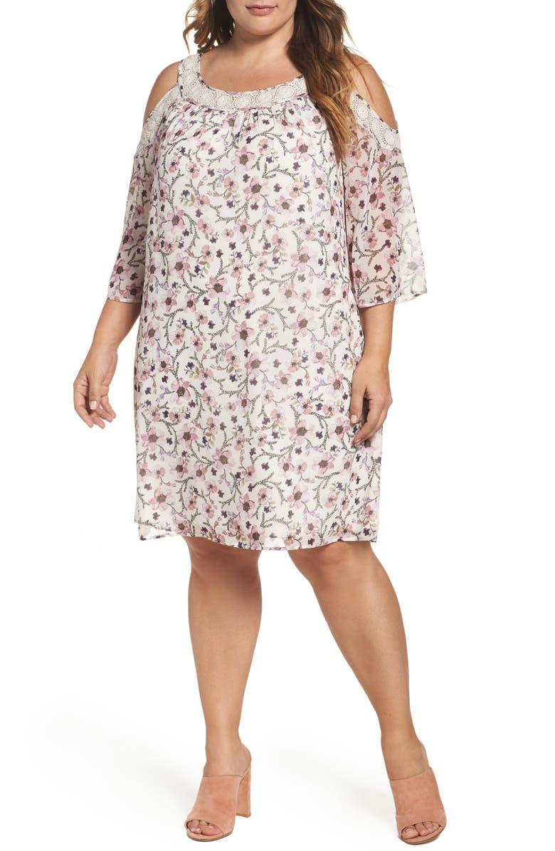 DANIEL RAINN Lace Trim Cold Shoulder Shift Dress, Main, color, 900