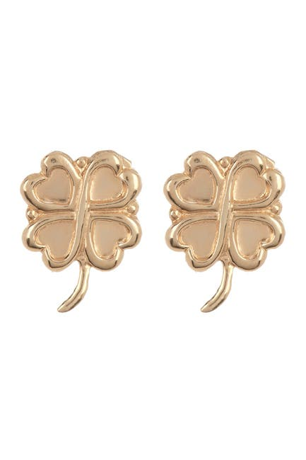 Image of Candela 14K Yellow Gold 4-Leaf Clover Stud Earrings