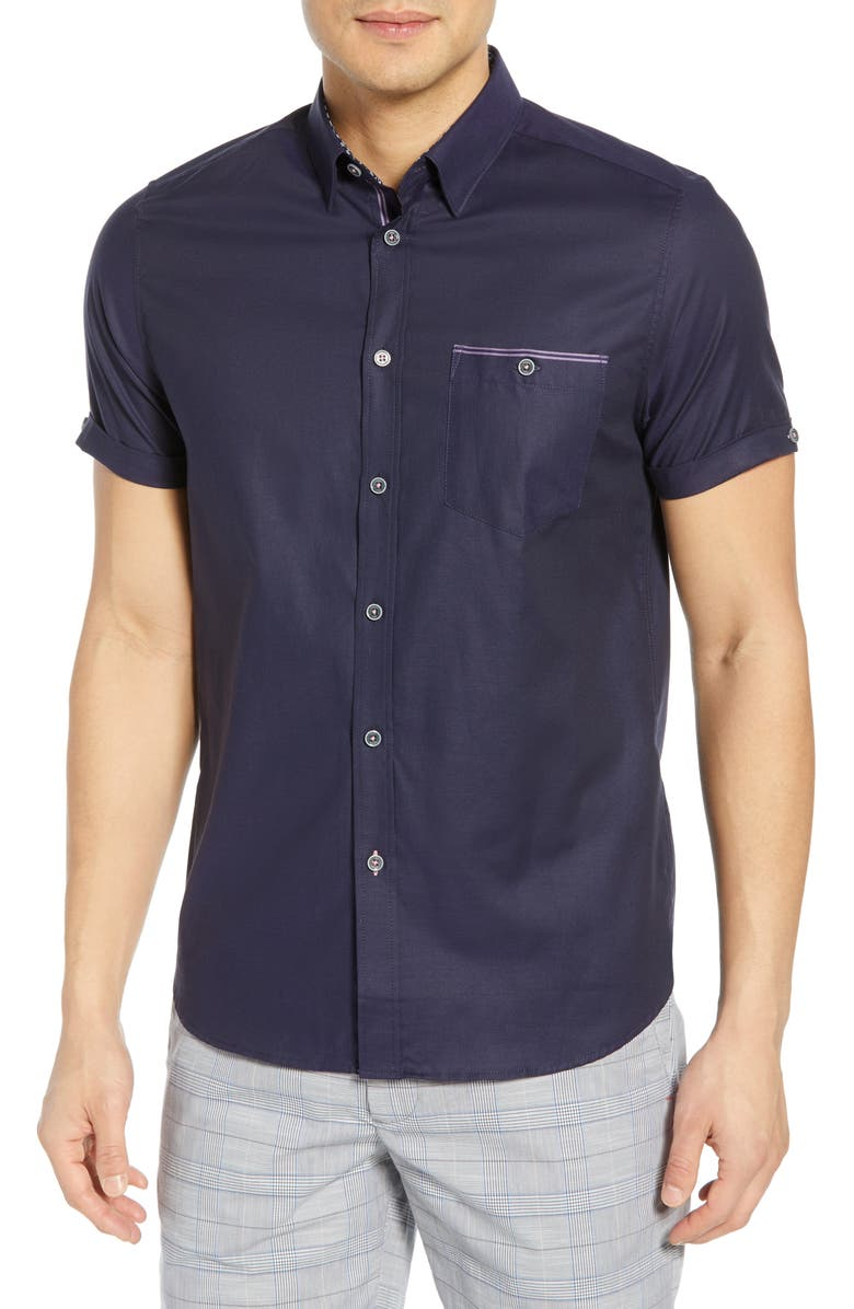 TED BAKER LONDON Wallabi Slim Fit Oxford Shirt, Main, color, NAVY