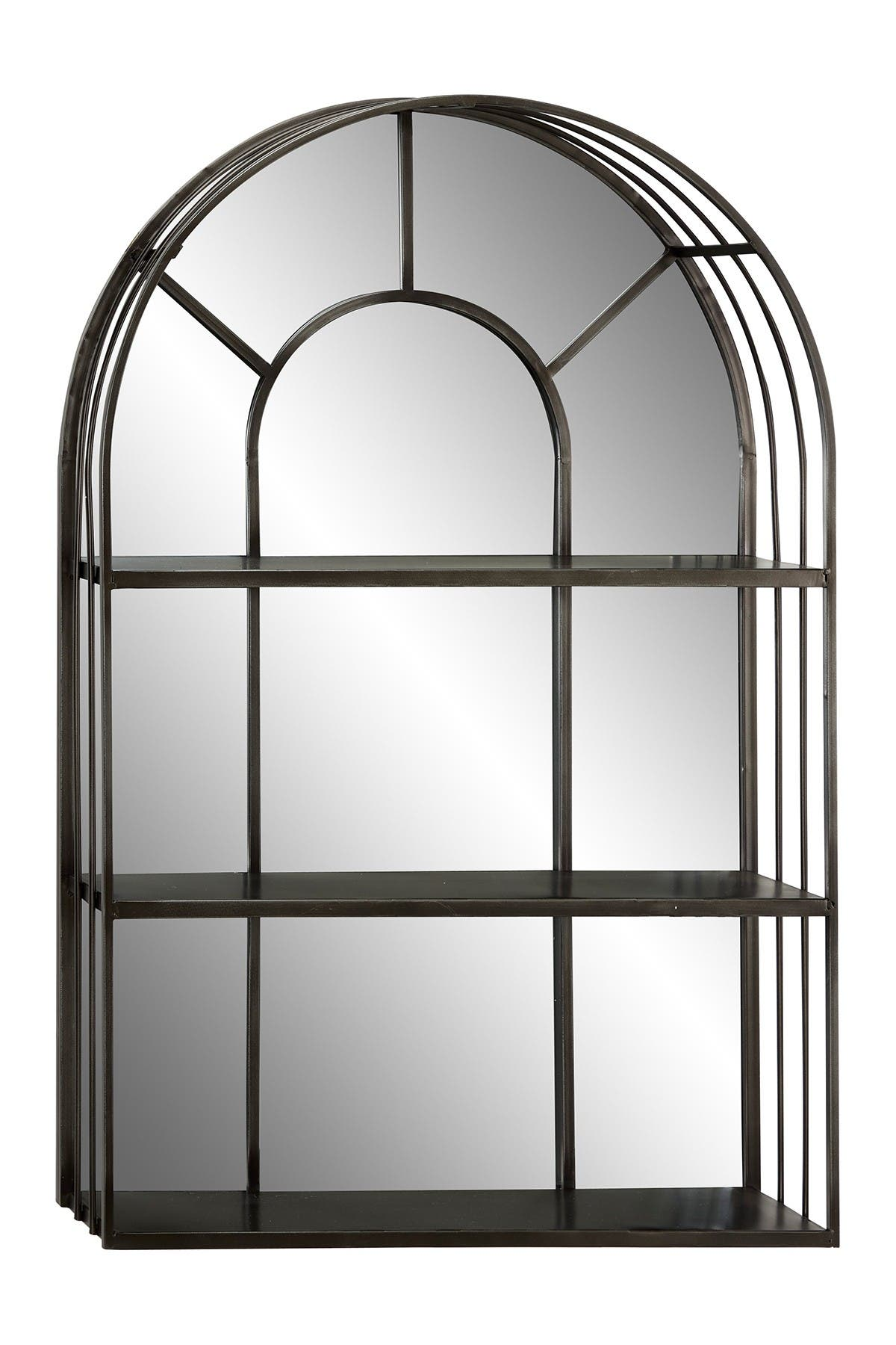 Willow Row Large Industrial Dark Silver Iron Cathedral Window Pane Wall Mirror With Shelves 23 5 X 36 Nordstrom Rack