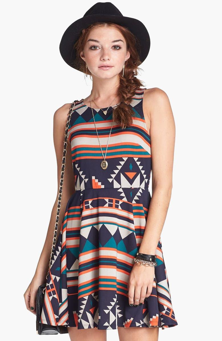 DEE ELLY dee elle Geometric Pattern Skater Dress, Main, color, 410