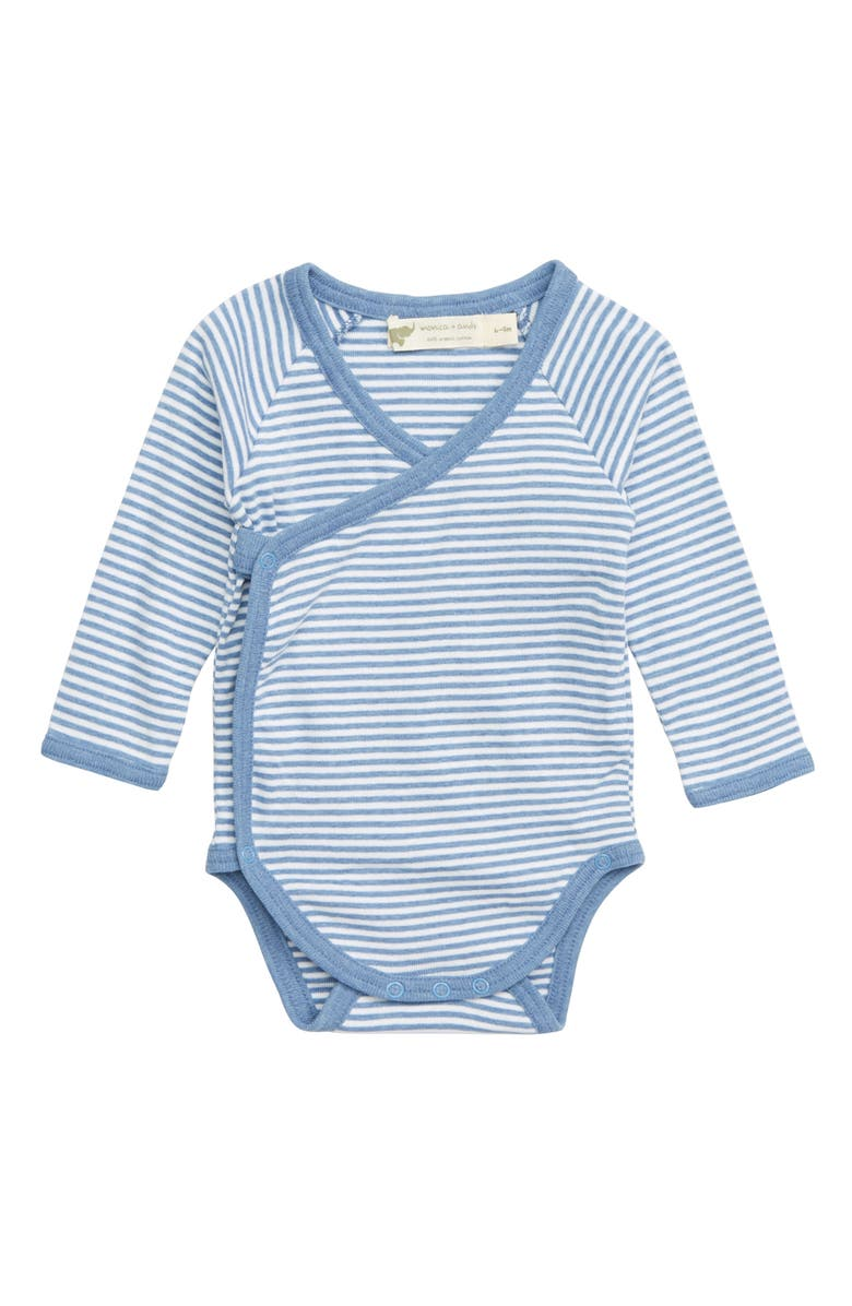 MONICA + ANDY Lucky Stripe Organic Cotton Wrap Bodysuit, Main, color, LIGHT BLUE STRIPE