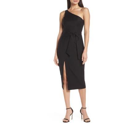 Finders Keepers Francis One-Shoulder Sheath Dress, Black