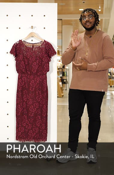 Embroidered Lace Blouson Cocktail Dress, sales video thumbnail