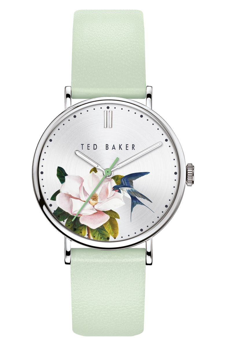 TED BAKER LONDON Phylipa Flowers Leather Strap Watch, 37mm, Main, color, LIGHT GREEN/ SILVER