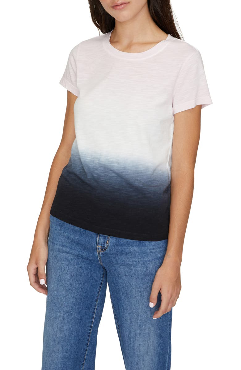 SANCTUARY The Perfect Wash Dip Dye Tee, Main, color, BLACK/ PINK DIP DYE