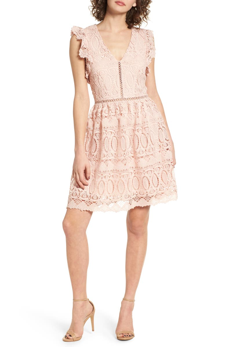 J.O.A. Lace Fit & Flare Dress, Main, color, 650