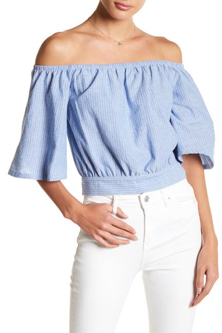 Image of J.O.A. Off-the-Shoulder Pinstripe Blouse