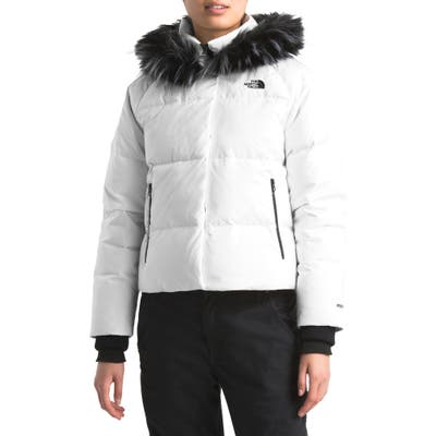 The North Face Dealio 550 Fill Power Crop Hooded Down Jacket, White