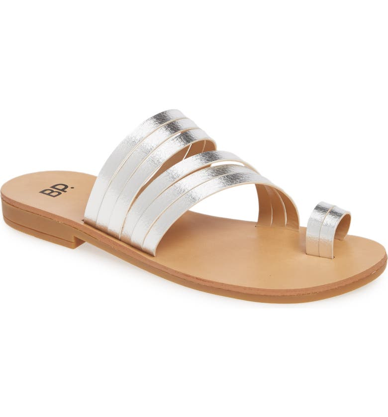 BP. Liv Flat Slide Sandal, Main, color, SILVER FAUX LEATHER