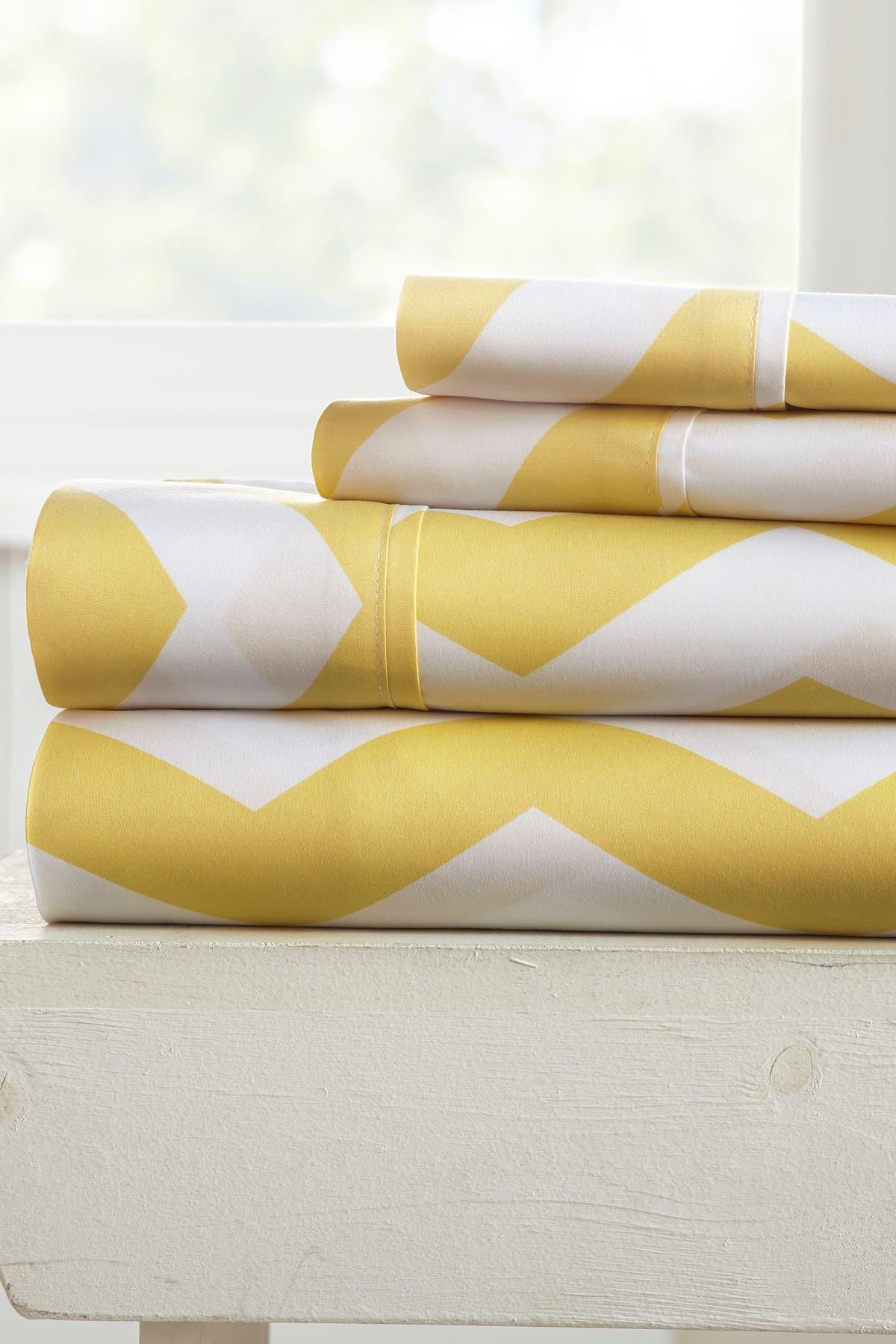Image of IENJOY HOME Home Spun Premium Ultra Soft Arrow Pattern 3-Piece Twin Bed Sheet Set - Yellow