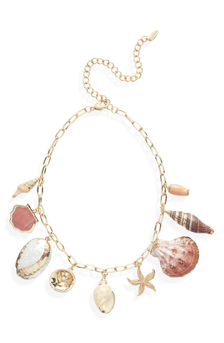 ETTIKA Private Island Shell Necklace, Main, color, GOLD