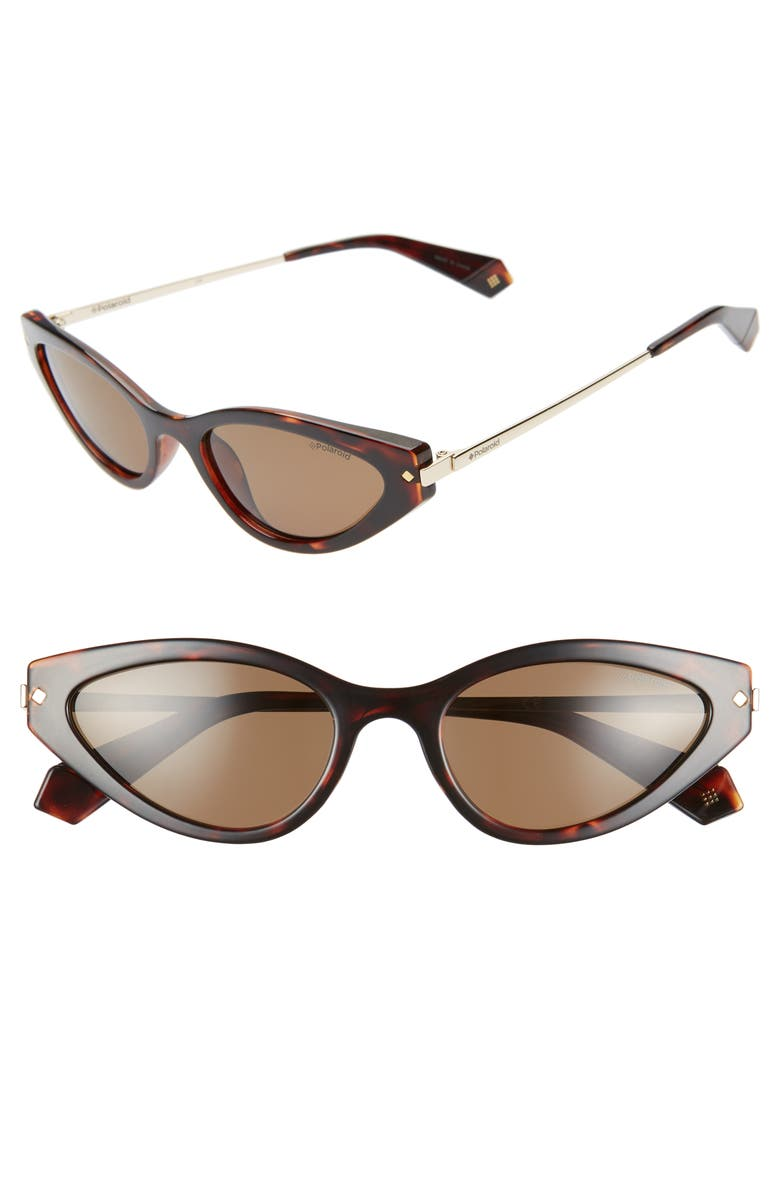 POLAROID 53mm Polarized Cat Eye Sunglasses, Main, color, DARK HAVANA