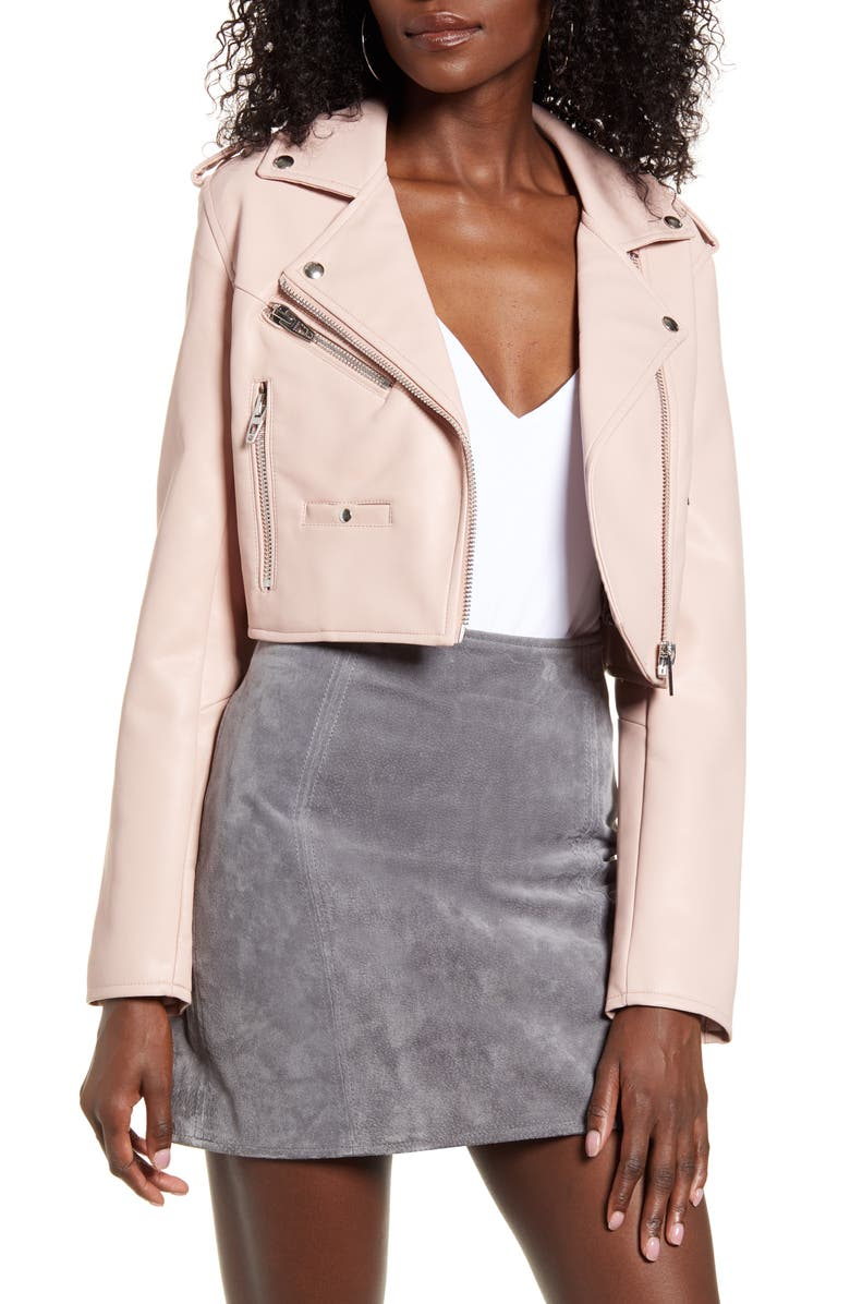 BLANKNYC Crop Faux Leather Moto Jacket, Main, color, LOVE SICK