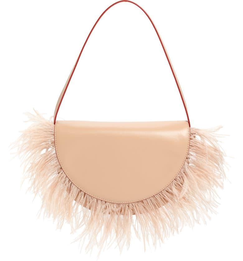 STAUD Amal Feather Fringe Leather Shoulder Bag, Main, color, POWDER
