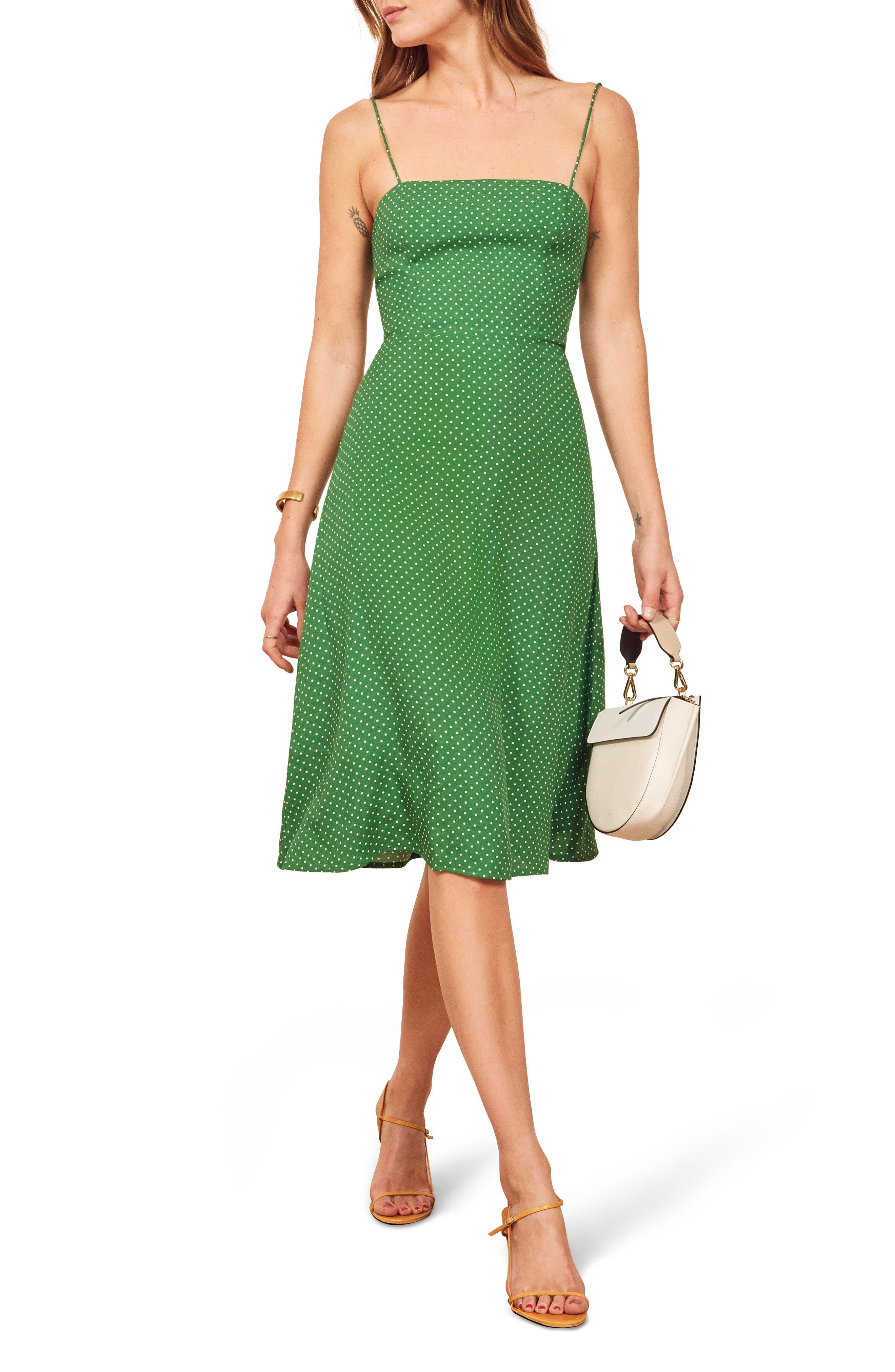 Reformation Peach Midi Dress, Green