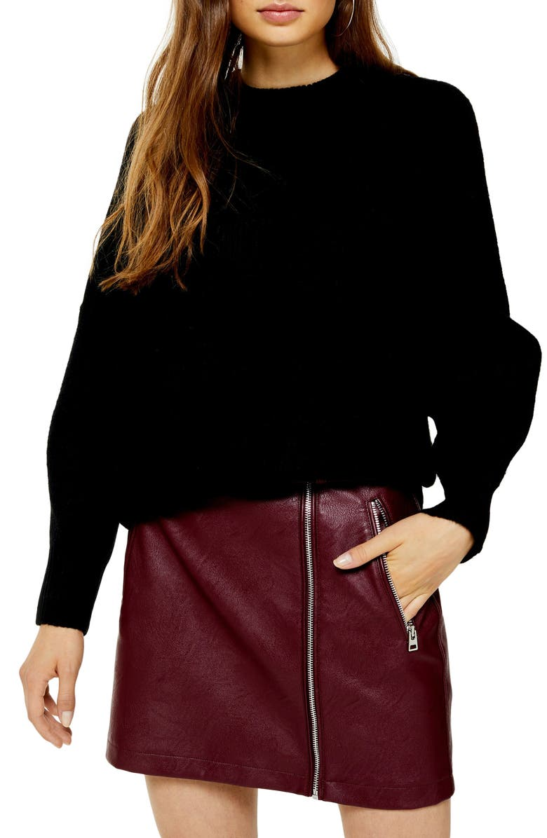 TOPSHOP Crewneck Sweater, Main, color, BLACK