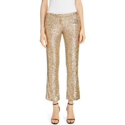 Balmain Sequin Crop Flare Pants, US / 44 FR - Metallic