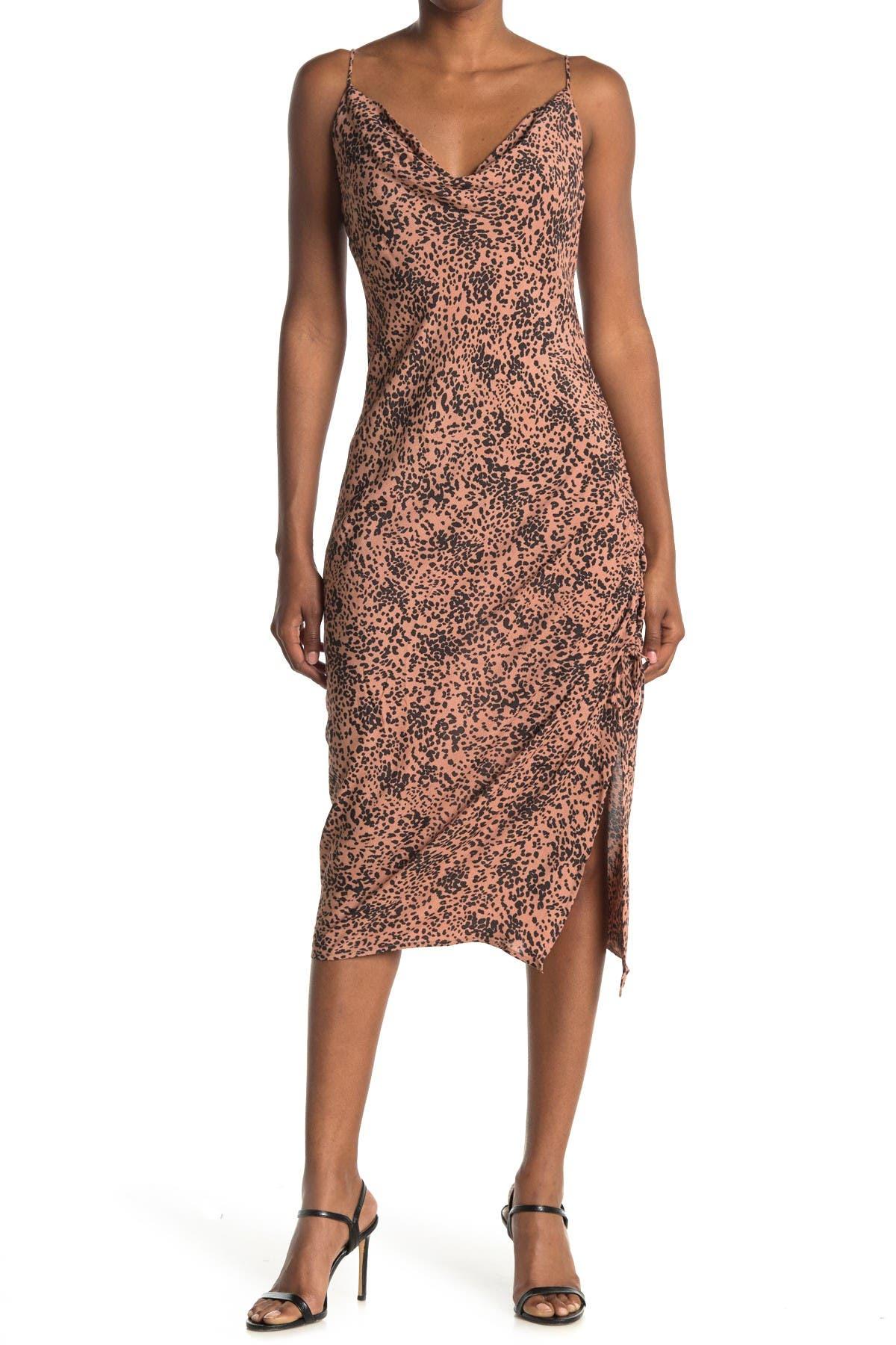 Image of Love Stitch Printed Ruche Sleeveless Slip Dress